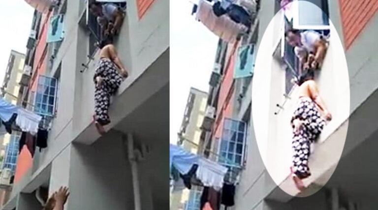 3. kattan düşen kadını saçlarından yakaladı
