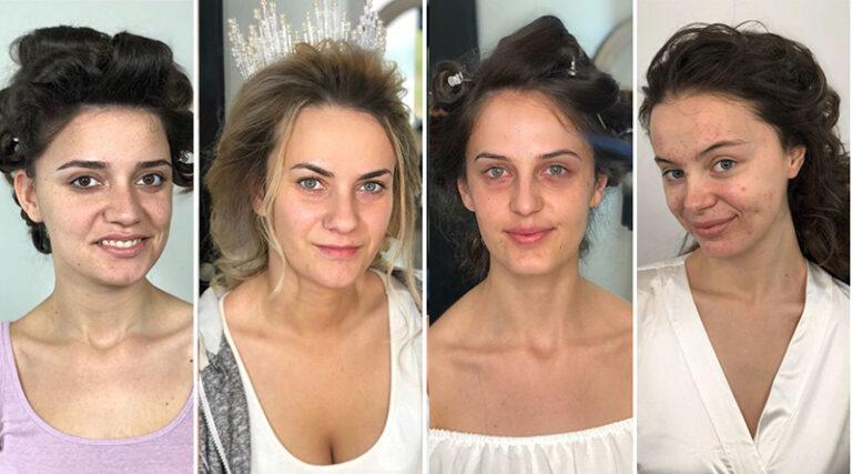 gelin makyajından önce ve sonra
